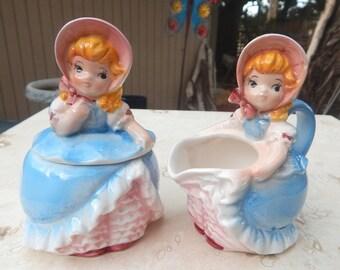 RARE Lefton Little Bo Peep Creamer and Sugar Bowl  --  Lefton Little Bo Peep