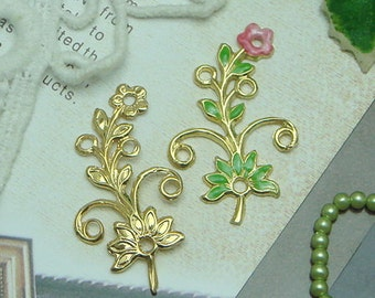 4pcs Gold Plated Leaf Filigree Finding,23x36mm