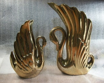 Vintage - 2 Large Brass Swan Planter / Vase Heavy Solid Detailed Lot      #598
