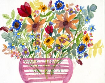 Wildflowers in Pink Vase (8x10 original painting)