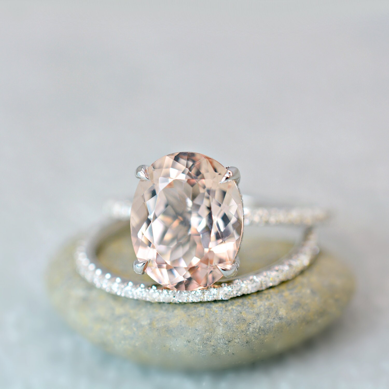 3.40 Ct. Oval Cut Morganite & Diamond Engagement Ring On 14K