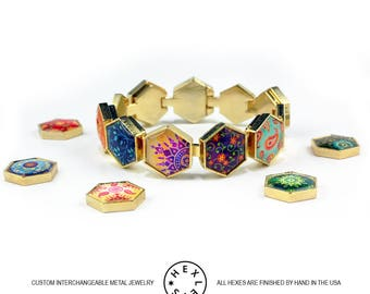 Bohemian Patchwork Bracelet - Gold - Interchangeable Artwork