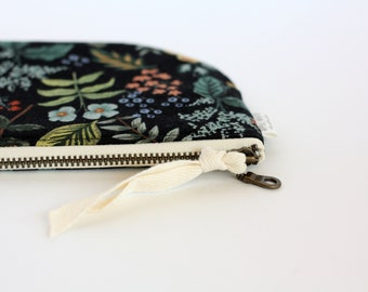 Rifle Paper Co Fabric Bag, Floral Zipper Pouch, Purse, Botanical Make Up Bag, Black Clutch, Bride's Maid Gift, Gift For Her, Cosmetic Bag
