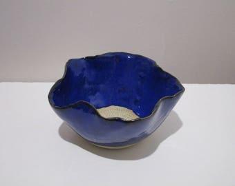Small blue stoneware ceramic flower Bowl
