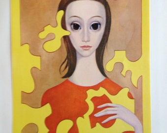 Big Eye Girl - The Puzzle - Margaret Keane Lithograph Print 1963