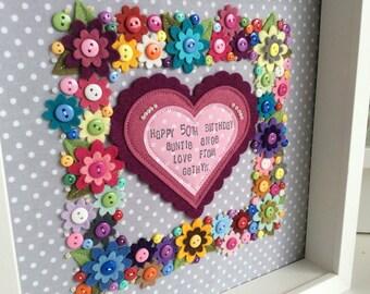 Birthday Frame   Flower Frame   Wall Art  