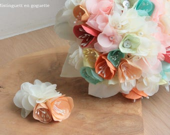 Bouquet de mariée  en papier et tissu - couleurs personnalisables-