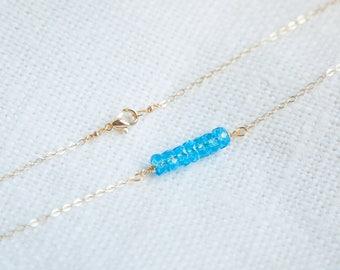 Tiny Aquamarine Necklace, Aquamarine Gold Necklace, March Birthstone Jewelry, Aquamarine Birthstone Necklace, bijoux aquamarine boho schmuck