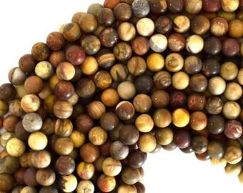 """6mm matte petrified wood agate round beads 15"""" strand 39125"""