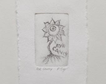 SOLD**Eye Candy Plant Tiny Dry Point Copper Etching hybrid plant magical creature faerie fairy world fae dollhouse