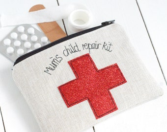 Personalised Glitter First Aid Pouch - First Aid Bag - First Aid Pouch - Diabetes Bag - Diabetic Supply Bag - Gift For Mum - First Aid Kit