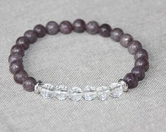 Natural pearls 6mm - Lepidolite and rock crystal bracelet