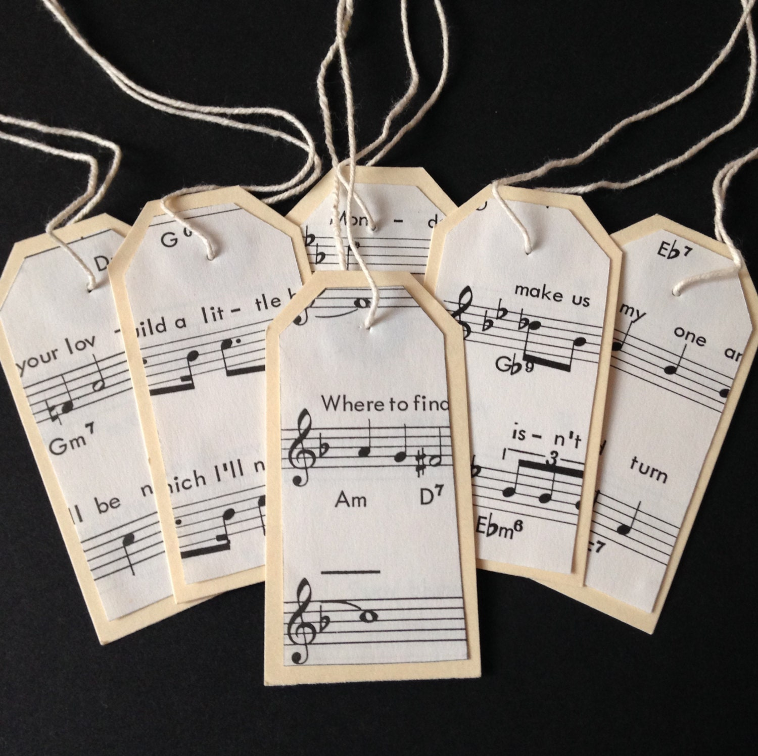 10 Vintage Music Paper Luggage Scalloped Tags 7cm x 3.5cm - Wedding ...