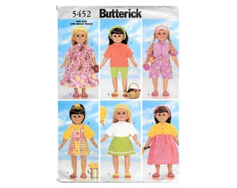 Butterick 5452 18 Inch Doll Clothes Contemporary Summer Wardrobe