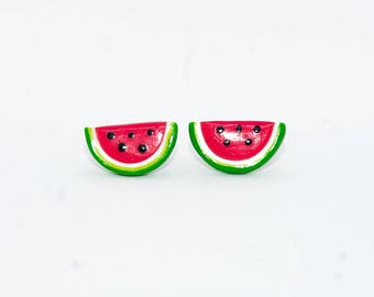 Cute Watermelon Earrings | Polymer Clay