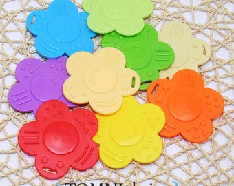 9pc Smiley flower teether Sampler Pack - for baby toys / dolls / pets (ROYCGGBP)