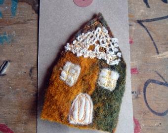 Orange Lace Woodland Cottage House Brooch - Textile Art Jewellery