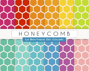 Colorful Honeycomb Digital Paper. honey comb digital paper Download for Commercial Use patterns, geometric  hexagon backgrounds