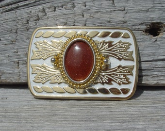 Western Style Belt Buckle with Goldstone Cabochon