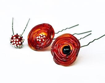 Poppy Pin - Flower Hair Pin - Red Pin - Lampwork Pin - Pin For Hair - Hair Stick - Hair Stick Pin - Urban Flowers Collection