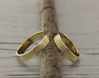 Filigree promise rings, Minimal wedding bands, Unique set ring, Matching gold bands, Gold wedding rings, His Her promise ring, Ring 14k gold