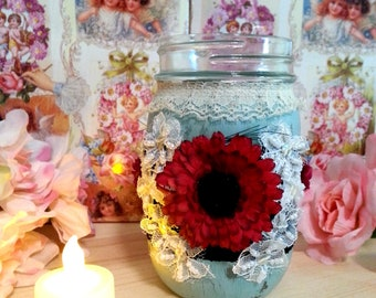 Vintage Style Distressed Paint Teal with Red Flower Decorated Mason Jar, Shabby Chic, Rustic Glam Decor, Velvet and Lace with Red Floral