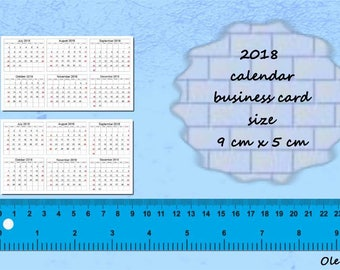 2018 Calendars Printable Mini, 9 x 5 cm, business, Planners, PDF File, 2018 calendar, calendars, Digital, Download, Printable, Instant