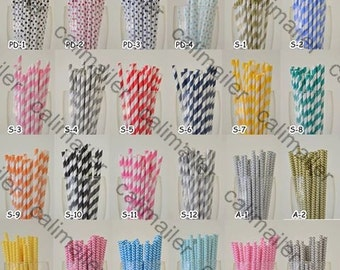 200 Pieces Paper Drinking Straws in Striped/Chevron/Polka Dot for any venue birthday parties