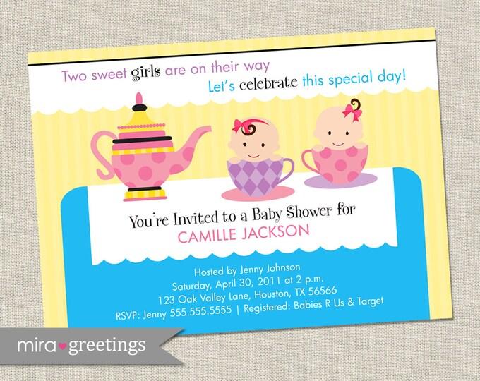 Twin Girls Tea Party Baby Shower Invitation - Printable Digital File