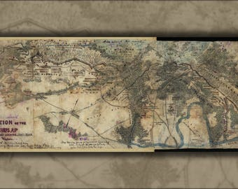 Poster, Many Sizes Available; Map Harrisons Landing, James River, Virginia 1862