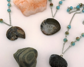 Fossil jewelry. Genuine fossil necklace. Spiral shell. Ammonite pendant, ammonite necklace. Cretaceous period jewelry. Fossil shell.