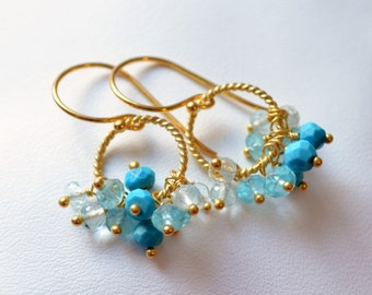 Blue Turquoise Earrings, Aqua Apatite and Aquamarine, Genuine Gemstones, Wire Wrapped Cluster, Gold Vermeil Jewelry, Free Shipping