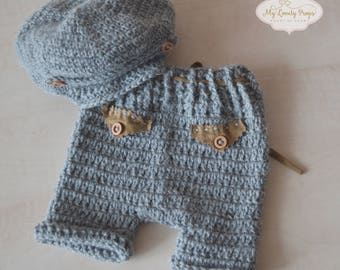 Newborn set for boy: hat and pants, photography props, newborn props, newborn hat, newborn outfit, newborn boy outfit-newborn boy clothes