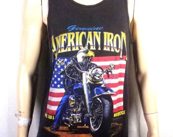 vtg 80s soft thin American Iron Motorcycle Biker Tank Top T-Shirt harley XL