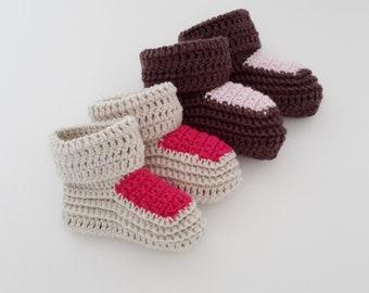 11 - Patron tutoriel de chaussons de bébé au crochet en laine