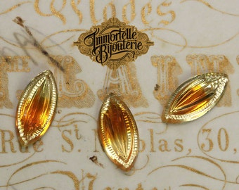 15x7mm Vintage Navette Pressed Givre Topaz Glass Jewels - High Quality West German - 6 pcs