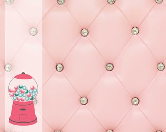 Pink Jeweled Cushion - Vinyl Photography Backdrop Photo Prop