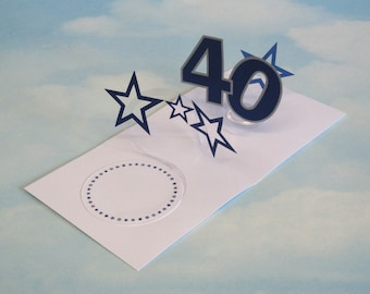 40th Birthday Card Spiral Pop Up 3D - Blue Stars – 40th Birthday Spiral Pop Up Card - PopUp Card