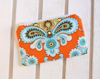 Coin Purse, Change Pouch, Small Zipper Pouch, Women and Teens, Amy Butler, French Wallpaper in Orange