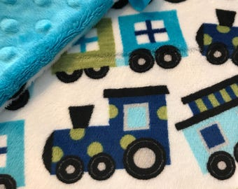 Minky Lovey, Security Blanket Train Print Minky with Turquoise Dimple Dot Minky Backing - great for a new baby