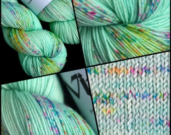 "Dyed to Order, Hand Dyed Yarn, Hand Dyed Sock Yarn, Hand Dyed DK Yarn. ""Menthe"""