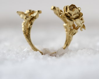 Unique Gold Ring, Rose Ring, Open Ring, Statement Ring, Unique Ring, Natural Ring, Woodland Ring, Leaf Ring, Flower Ring, Rose Gold Ring