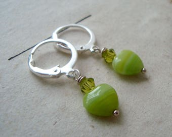 Lime Green Heart Earrings Silver Jewelry Mothers Day Jewelry Crystal Spring Gifts Under 20 Love Valentines Jewelry