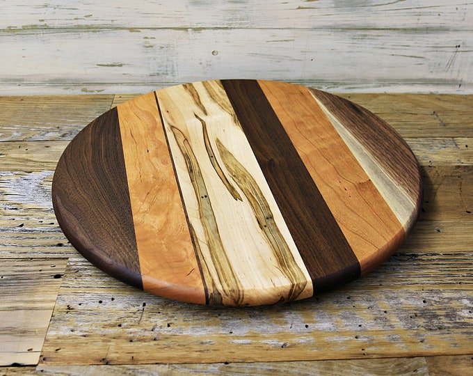 SALE, Price Reduced! Large Lazy Susan, 16 Inches Round, Oil Rubbed Finish, Low Profile, Walnut, Ambrosia Maple,  and Cherry Wood