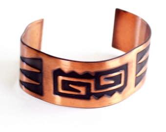 Wide Tribal Cuff Bracelet, Vintage Copper Cuff, Southwestern Tribal Bracelet, Copper Jewelry, Bold Copper Cuff, Southwest Copper Bracelet