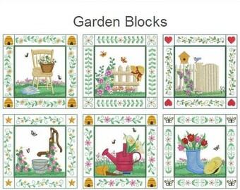 Garden Blocks Spring Season Machine Embroidery Designs Pack Instant Download 4x4 5x5 6x6 hoop 10 designs APE2562