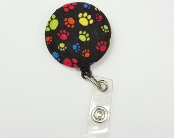 Retactable ID Badge Reel / ID Badge Holder / Name Badge Clip / Badge Pull / Button Badge Holder - Colorful Paws