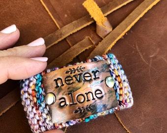 Hand Stamped Custom Bracelet, Never Alone Colorful Knit Bracelet, Christian Jewelry for Women