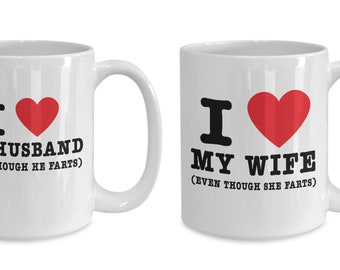 Funny Gift for Him Her I Love My Husband Wife Mug Set Birthday Anniversary
