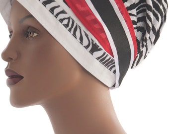 Zebra Wrap Scarf Loc Wrap Scarf Tichel Scarf Natural Hair Wrap Chemo Scarf Haircovering